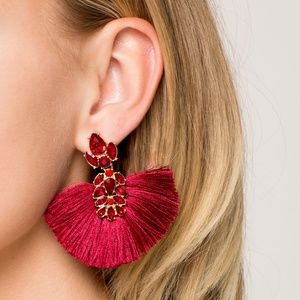 🌸 Crystal Studded Fan Fringe Earrings Red Gold